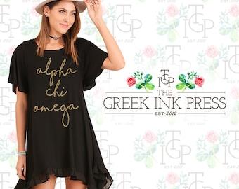 Ellie Trapeze Hem Sorority Black Dress at The Greek Ink Press