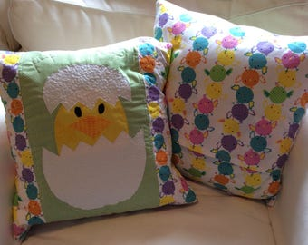 Easter Chick Quilted Pillow Cover