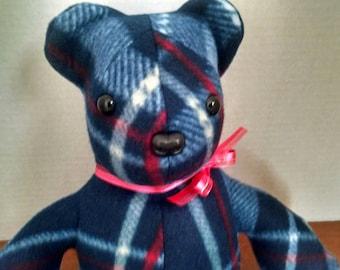 Plaid Bear, Stuffed Animal, Bear Plushie