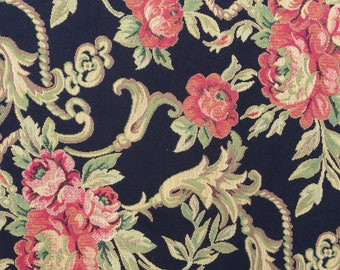 Tapestry Upholstery vintage fabric rose black pillow chair cover cushion