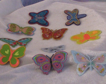 10pcs   High quality bead sequin butterfly   embroidered iron on patch  about  5-8cm