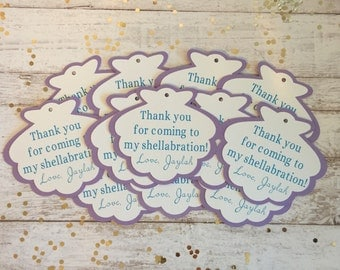 Under the Sea Shell Thank You Tags • Mermaid • Birthday Party • Gift Bag Tags