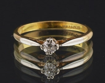 Diamond Solitaire Engagement Ring Vintage 18ct, 18K Yellow Gold single Stone  N (UK) or 7 (US)