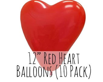 "12"" Heart Shaped Red Balloons, 12 Inch Red Heart Balloons, 10 pack, 1 ft Balloon, Party Decorations, Wedding Supply, Birthday Decoration"
