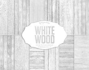 "Wood Digital Paper - ""White Wood"" with digital wood textures and digital wood backgrounds in white, gray and neutral colors"