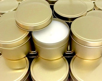SALE >> 20% OFF with Code 20JULY >> Silver or Gold Tin Soy Candles 4oz Wedding Or Event Favour Tins Bonboniere Gift Baby Shower Birthday