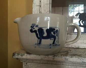 Gorgeous handmade fantastic farm pitcher featuring a wonderful spotted cow! One of a kind!