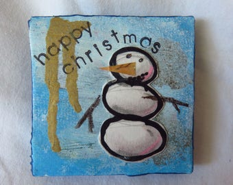 Happy Christmas #1 - Mixed media tiny art