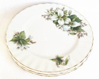 Trillium tea plates - Royal Albert bone china - England - set of four side plates