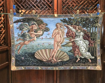 "Botticelli's ""Birth of Venus"" in clamshell tapestry"