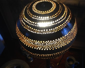 Seed to Shade Gourd Lamp Earth Tones, Whimsical, Folk Art, Accent Lamp, Mood Lighting