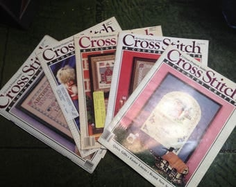 Four 1986 Vintage Cross Stitch Magazines -  One Sample Issue - One Last Issue 1988