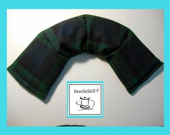 Microwavable Heating Pad, Rice Heating Pad, Flax Seed Heating Pad, Neck Warmer, Sunny Heat Pack, Forest Green Blue Plaid