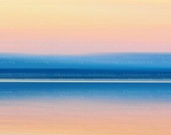 Fine Art Abstract Ocean Sunset Photograph {Beach Artwork, Seascape Picture, Large Photo, Original Photography, Coastal Home Decor Print}