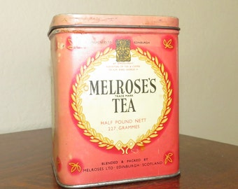 Antique/vintage tin Melrose's Tea Can/cannister-free shipping USA