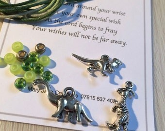 Wish Bracelet Kit, Make Your Own Bracelets, Dinosaur Wish Bracelets, Bracelet Kits, DIY Bracelets, Friendship Bracelet Kits, x3, Party Gift