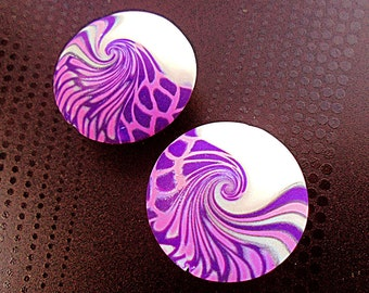 2 handmade lilac beads, lentil beads, Polymer clay beads, Handmade beads, Swirl beads, Unique beads, Artist beads, Craft beads, Round beads
