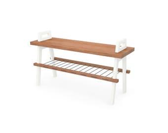 "36"" entryway/hallway storage bench in cherry"