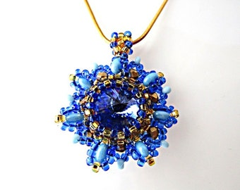 Blue Swarovski Crystal Pendant Blue Rivoli Swarovski Pendant Necklace Beadwork Bead Embroidered Pendant with Swarovski Rivoli (14mm)