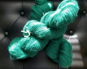 Upcycled yarn - TEAL GREEN, light worsted