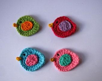4 crochet birds, cards, scrapbooks, appliques and embellishments, bird applique, birdies appliques