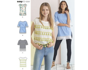 Simplicity Sewing Pattern 8336 Misses' Knit Tops with Length and Trim Variations