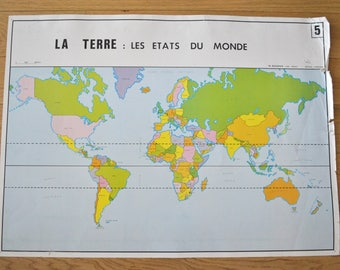 Old map double-sided - Earth: the States of the World - Europe relief. By NIGHTINGALE