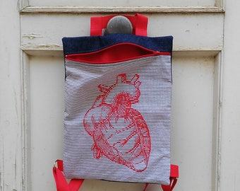 Heart backpack, Denim and red  Backpack, stripes backpack, light backpack, fabric bag, handmade, made in spain, backpack with zipper