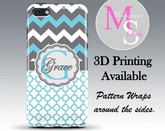 Monogram iPhone 7, 7 Plus, 6S, 6S Plus Personalized Phone Case Blue Chevron Quatrafoil iPhone 4, 4S Case iPhone 5, 5S, 5C, iPhone 6 6S #2763
