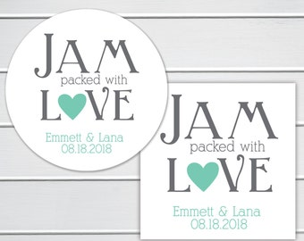 Jam Packed with Love, Love Is Sweet, Wedding Favor Sticker, Wedding Stickers, Wedding labels (#216)