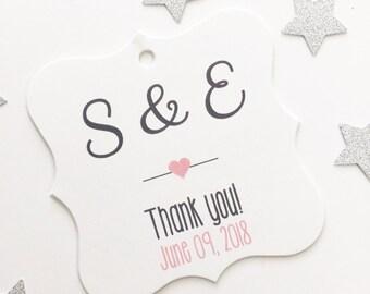 Thank You Wedding Favor Tags, Custom Wedding Tags, Custom Wedding Hang Tags  (FS-004)