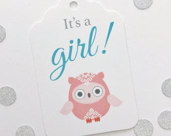 It's a Girl, Cute Owl Baby Shower Tags, Baby Shower Favor Tags, Favor Tags (ST-140J)
