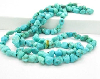 Light Blue Hubei Turquoise Nugget Beads, Natural Turquoise Bead, 5-8x6-8mm (32)