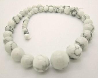 Natural White Howlite Graduated Round Bead Strand (1)