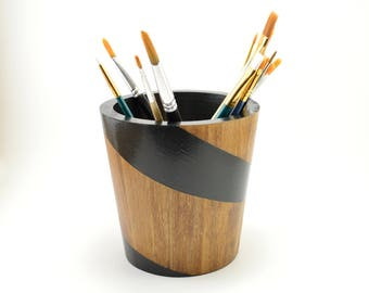 Wooden Brush Cup, Succulent Planter, Pencil Holder, Desk Accessory, Utensil Cup, Office Accessory, Wooden Pencil Cup, Pen Cup, Wooden Cup