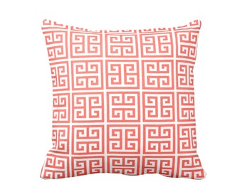 Coral Pillow Covers Greek Key Pillows Coral Throw Pillow Covers Decorative Pillows for Sofa Pillows Coral Cushion Covers Pink Pillows