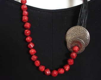 Hammered Silver Red Coral Statement Necklace  Black Multi Strand  Cord Necklace Unique Contemporary Chic Necklace Metalwork Necklace