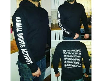 BLACK *!!*Animal Rights Hoodie*!!* - 'Animal Rights Activist' - Many Sizes Available!