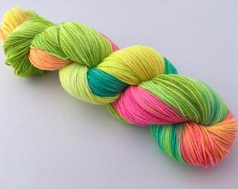 Tropical Hand Dyed Superwash Merino/ Nylon/ Stellina Sock Yarn