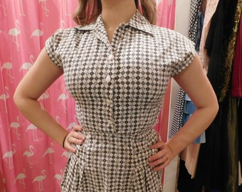 1950 checked  dress