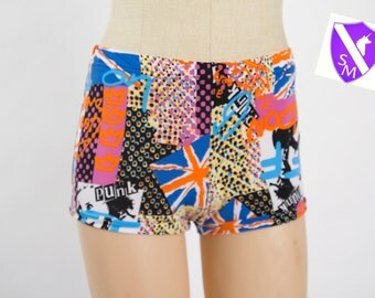 Shorts,Graffiti Print,Punk Shorts,Hot Pants,Hot Shorts,Short Shorts,Booty Shorts,Rave Bottoms,Rave Costume,Cute Shorts,Festival Clothing,EDM