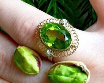Peridot Ring Big 6.85Ct Lustrous Vibrant Natural Green Peridot diamonds post Art Deco  ring in 14k gold august birthstone