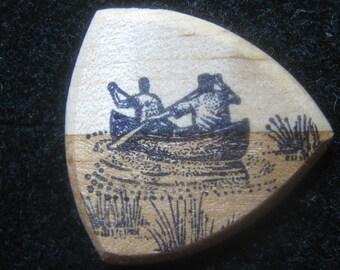 Wooden Guitar Pick Canoe Paddlers on Lake
