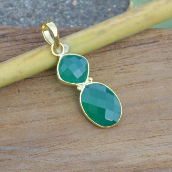 Natural Green Onyx Pendant ,  Solid Sterling Silver Gold Overlay Onyx  Pendant, Gift Pendant, Sterling Silver Jewelry