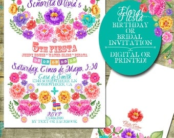 Floral Fiesta Birthday or Shower Invitation, Digital or Printed