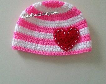 Valentine's Day Hat, Baby Valentine's Hat, Valentine's Day Photo Prop, Newborn Valentines Day Hat, Infant Valentine's Day, Crochet Heart Hat