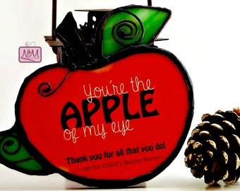 Stained Glass Wire Apple Suncatcher Personalized Keepsake, Christmas Teacher Gift, Whimsical, Red Apple, Green, Country, OOAK, Ornament