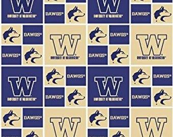 University of Washington Huskies Dawgs fabric, Washington Huskies fabric, Univeristy of Washington fabric