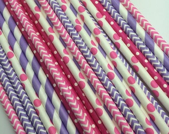 25pc Paper Straws PINK /PURPLE
