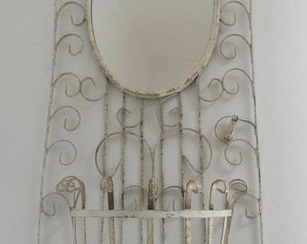 Vintage Iron planter with mirror, Iron planter, Wall hanger, Charming iron planter, Romantic garden decor